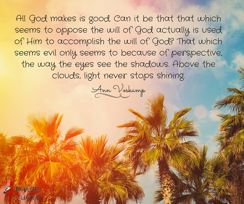"""""""All God makes is good. Can it be that that which seems to oppose the will of God actually is used of Him to accomplish the will of God? That which seems evil only seems to because of perspective, the way the eyes see the shadows. Above the clouds, light never stops shining."""" Ann Voskamp"""